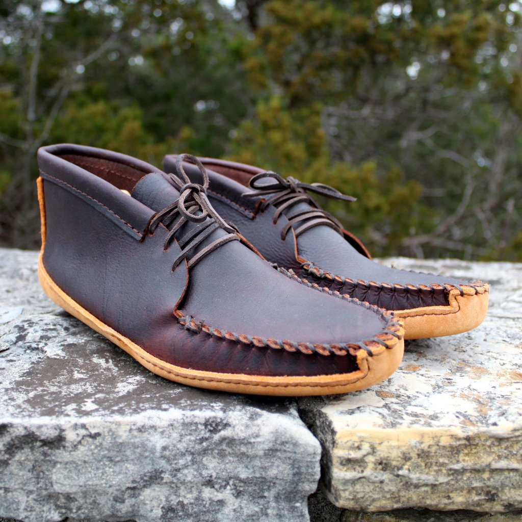 Mens Black Cherry Batwing Moccasin